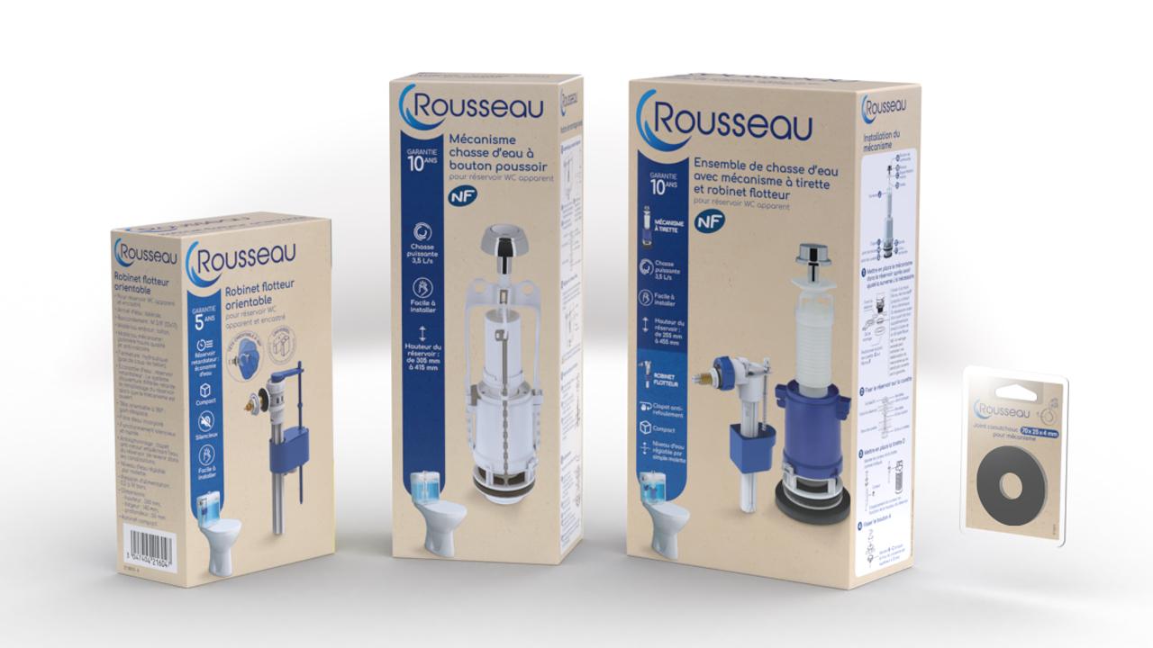Packaging de la gamme chasse d'eau d'Edouard Rousseau